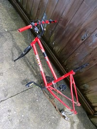 red and black Skyline bicycle frame