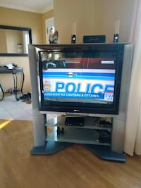 Black flat screen tv with black wooden tv stand Gatineau, J8R