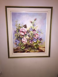 pink and purple flowers painting