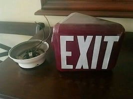 Antique milk glass exit sign