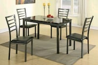 Bend New 5 Piece Faux Marble Dining Set  Silver Spring
