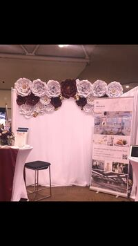 White, Burgundy and Gold Paper Flower Pipe and Drape RENTAL Brampton, L7A 1J2