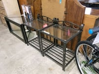 New, set of 2 side tables, metal frame, glass top