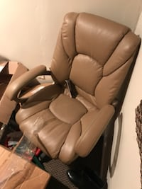 brown leather padded glider chair WOBURN