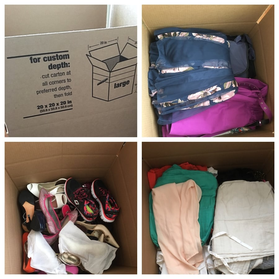 3 Full Boxes of shoes 7 to 7.5 and clothes that have either never been worn or worn o let once 27ba6e93-6bdf-4694-87a0-784e033b73b6