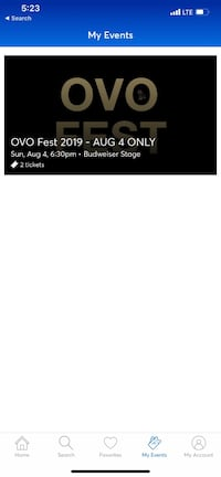 OVO fest section 200 platinum seats with vip service food and drink  Toronto, M6R