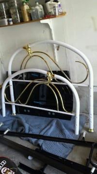 Double White Brass Bed