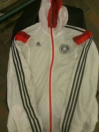 white, black, and red Adidas zip-up hooded jacket New Westminster, V3M 4V9