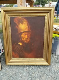 painting of soldier wearing gold-colored headdress with brown metal frame Gordonsville, 22942