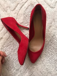 pair of suede red leather stilettos Toronto, M2N 1L8