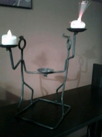 Black cast iron Iron  stickmen  candle holders