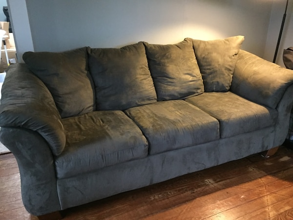 Sage Green Suade Couch