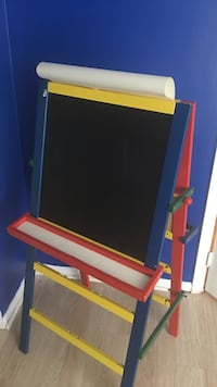 Black, blue, red, and yellow easel Sterling, 20165