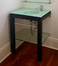 Wooden Vanity with glass sink and shelf