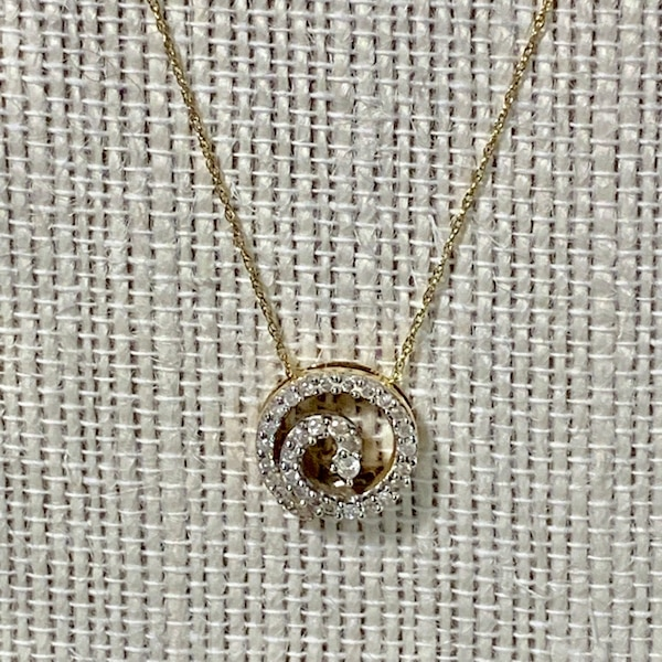 Genuine 10k Yellow Gold Diamond Spiral Pendant with 10k Chain 4de09e85-eec9-4787-af16-6046d7a5dc77