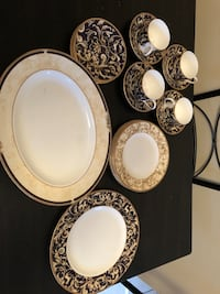 Blue and Gold floral Bone China dinnerware set