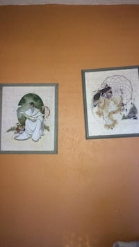 two white and black bird paintings Albuquerque, 87109