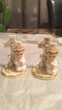 white and brown haired angel baby decor
