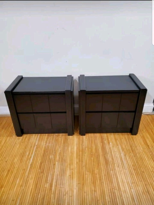 (2) Nightstand Side End Table Black 26x15 3/8x23