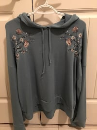 gray and brown floral pullover hoodie