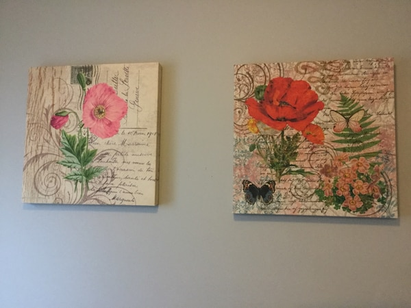 Used Red And Pink Poppy Flowers Two Paintings For Sale In Calgary