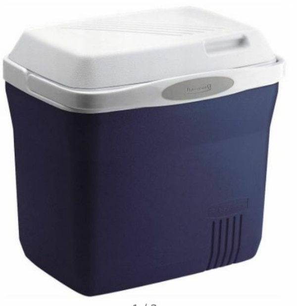 purple and white chest cooler