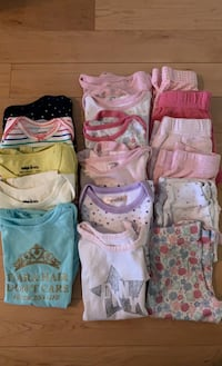 Baby girl onesies and pants and hoodie - 6-12 months
