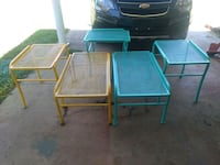 Vintage sets of iron patio tables.  Noble, 73068