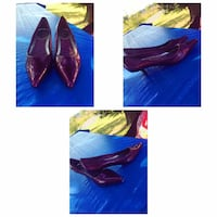 purple leather pointed toe pumps collage Mascouche