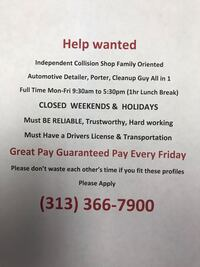 Help Wanted Great Pay Detroit