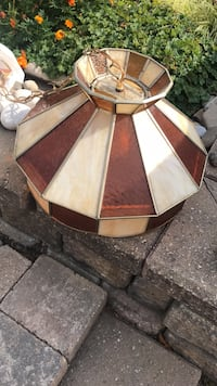 Dome Lamp. Brown and white stained glass