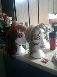 two brown and gray hair wigs