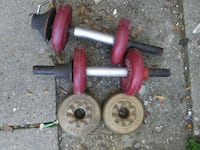 red and black dumbbells and barbell Zion, 60099