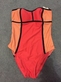 Wome's red, orange, and black strapless one-piece swimsuit Toronto, M9N 3X8