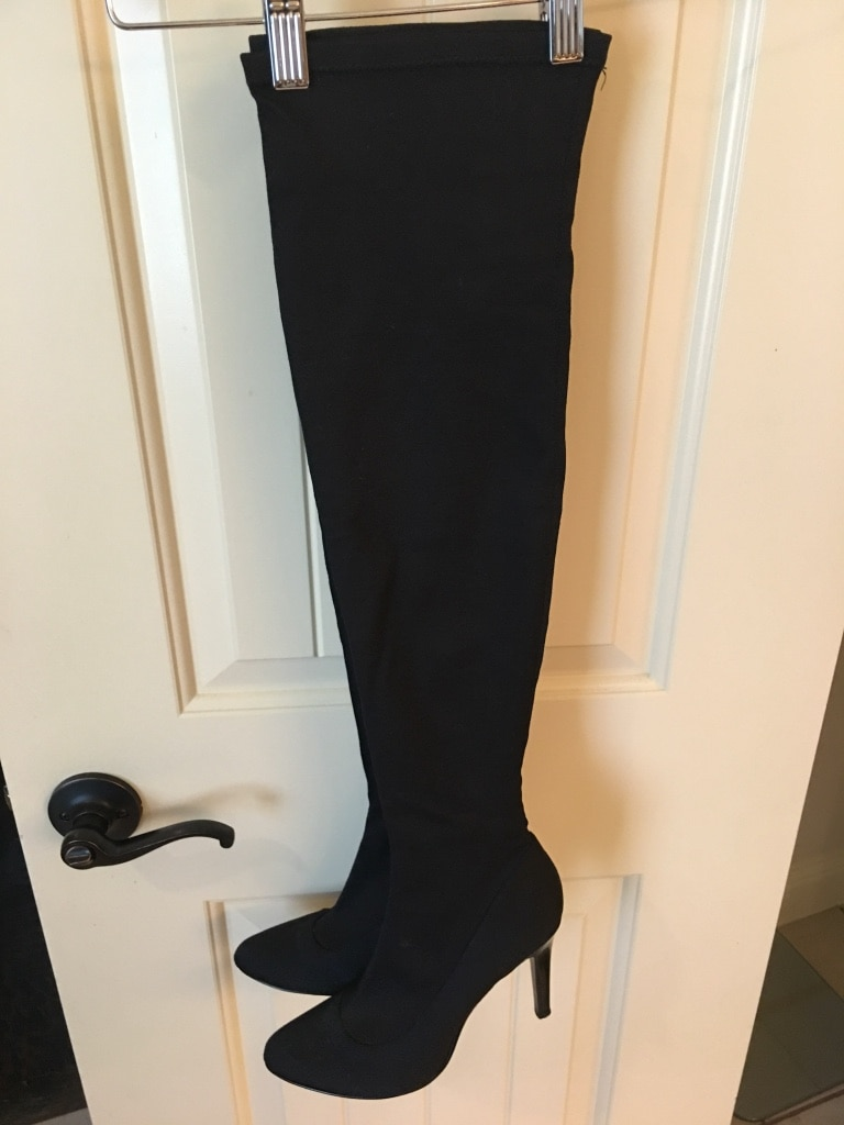 Pair Boots Suede Heeled Of Thigh Black High MUSpqzVG
