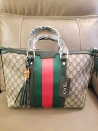 brown and green Gucci leather tote bag Dollard-des-Ormeaux, H9B 2C8