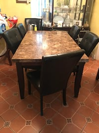 Rectangular brown wooden table with six chairs dining set Silver Spring, 20910