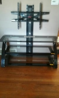 black metal and tempured glass TV stand with mount