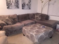 Grey colored soft microfiber large sectional sofa and ottoman set
