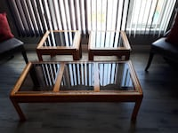 two brown wooden framed glass top tables Cambridge, N1R 8M6