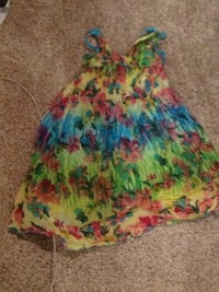 pink, green, and blue floral sleeveless dress