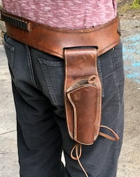 """Western style Leather cartridge and revolver holster- 30-34"""" waist"""