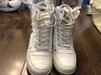 white lace-up high-top sneakers