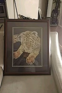 brown wooden framed painting of a tiger Port Coquitlam, V3B 1H5