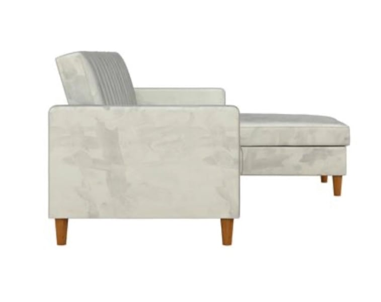 Futon Sectional with Storage (Velvet Light Gray) ***Assembly Required a8377149-2e5c-4ab1-bd0a-346930a21abb