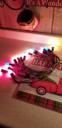 Vintage set 15 Christmas lights C7 fabric cord..with red beads.WORKS
