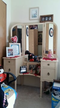 white and brown wooden vanity table Surrey