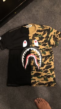 Black, yellow, and green camouflage bathing ape crew-neck t-shirt