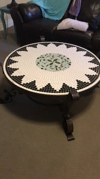 Round black and white floral tiled coffee table Mississauga, L5J 2T1