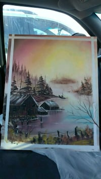 painting of house in river